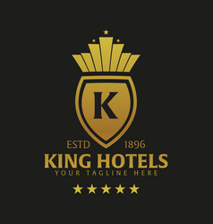 king hotel logo and emblem logo vector image