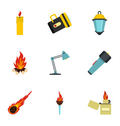 lighting icon set flat style vector image vector image
