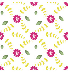 pattern of flowers twigs and leaves vector image
