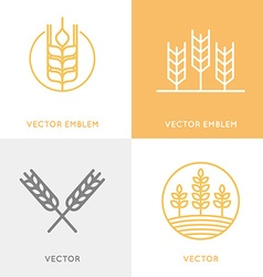 Set of logo design templates in trendy linear vector