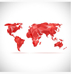World Map polygonal precision low-poly red vector image vector image
