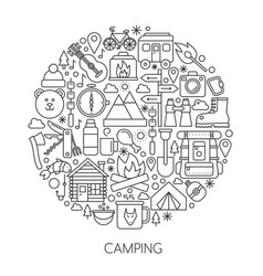 camping hiking tools and equipment infographic in vector image vector image