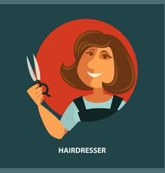 hairdresser woman with scissors flat poster vector image vector image