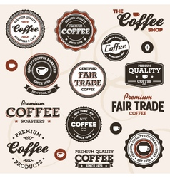 vintage coffee labels vector image vector image