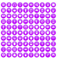 100 bakery icons set purple vector