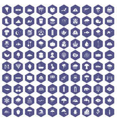 100 rain icons hexagon purple vector