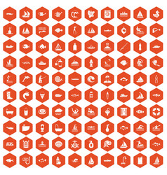 100 water icons hexagon orange vector