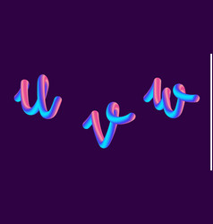 3d gradient lettering holographic font set with vector