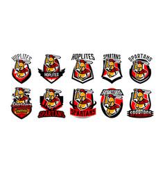 a collection emblems logos badges a spartan vector image