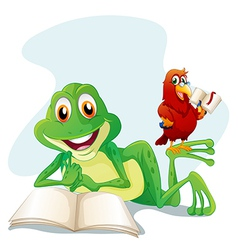 A frog and a bird reading vector