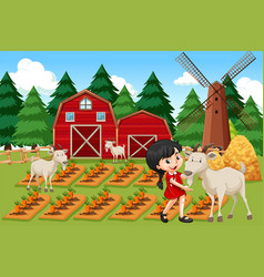 A girl at farmland vector