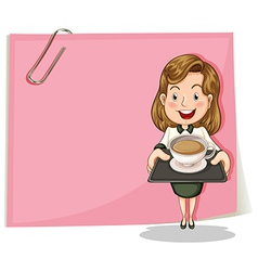 A girl with a tray standing in front of the pink vector image