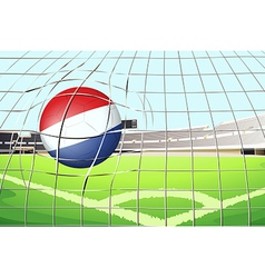 A soccer ball with the flag of Netherlands vector image