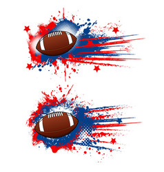 American football balls grunge sport equipment vector