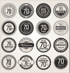 Anniversary retro labels collection 70 years vector