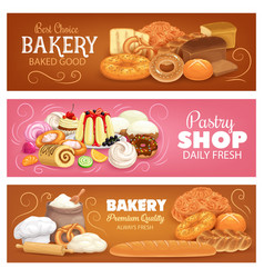 Bakery shop pastry and bread banners vector