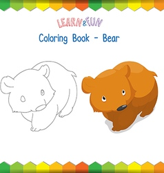 Bear coloring book educational game vector image