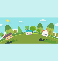 beautiful nature landscape with houses and hills vector image