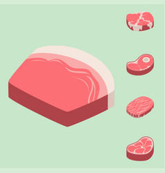 Beef steak raw meat food red fresh cut butcher vector