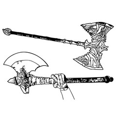Black and white fighting axes vector