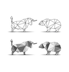 bulls and bears silhouettes vector image