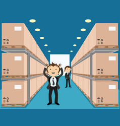 Business people in a crowded warehouse vector