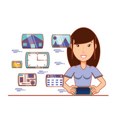 Businesswoman with social media icons vector