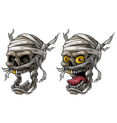 cartoon realistic scary mummy skulls set vector image