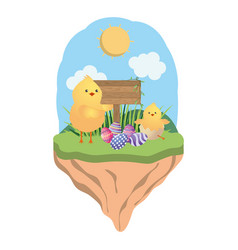 chick with easter eggs vector image
