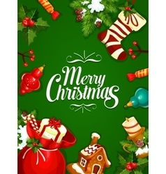 Christmas and New Year greeting card design vector