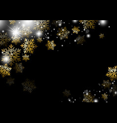 christmas background design of gold snowflake vector image