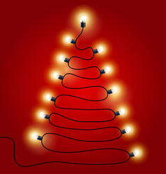 Christmas lights shaped as christmas tree vector