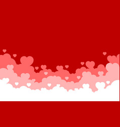 cloudy sky with red hearts background valentines vector image