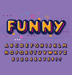 color font funny letters and numbers set playful vector image