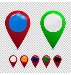 Colored detailed realistic 3d map pin pointer vector
