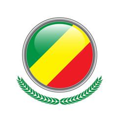 congo flag button congo flag icon of congo flag vector image