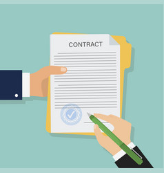 contract in flat style business concept vector image