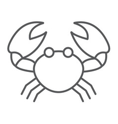Crab thin line icon animal and underwater vector