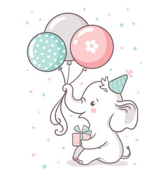 Cute baby elephant sits and holds a balloon vector