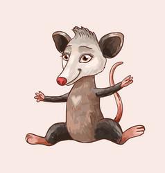 Cute funny opossum or rat sauitable vector