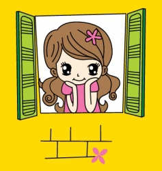 cute girl on window vector image