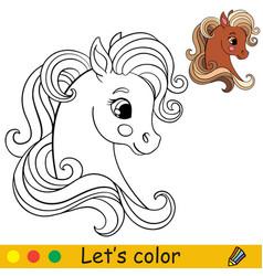 Cute head pony in profile coloring vector