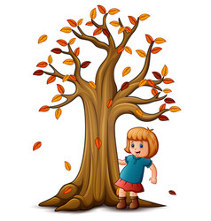 Cute little girl with autum vector