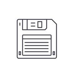 diskette line icon concept diskette linear vector image