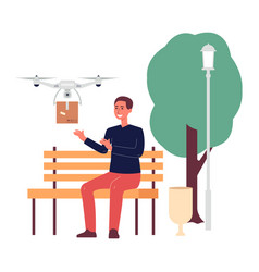 Drone delivery with man getting package flat vector