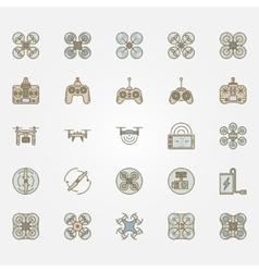 Drone flat icons set vector image