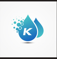 droplet design with letter k symbol design vector image