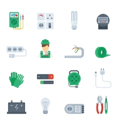 Electricity Icon Flat Set vector