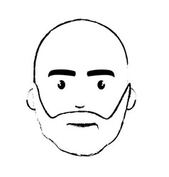 Figure nice face man with beard and bald vector