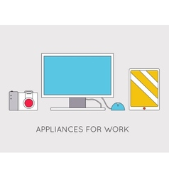 Flat modern creative workspace with computer vector image